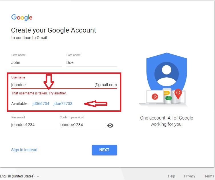 gmail name taken