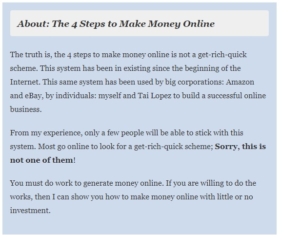 The 4 steps to make money online