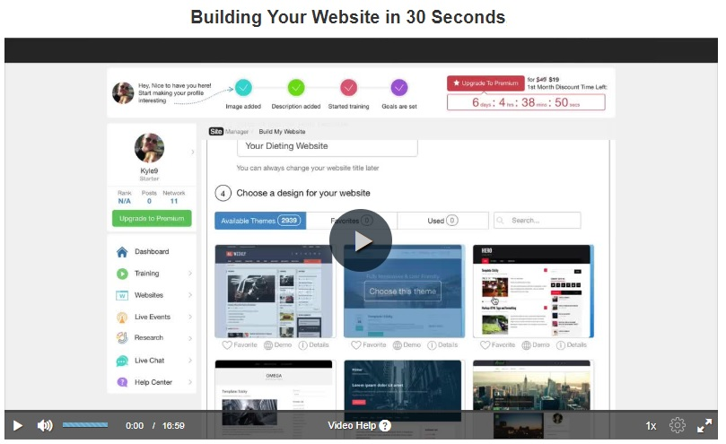 wealthy affiliate build website in 30 seconds
