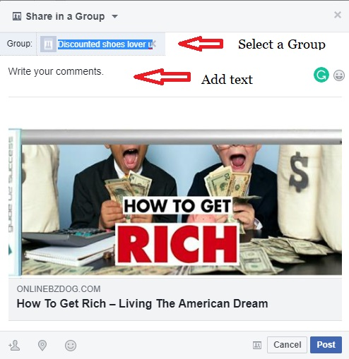 Share a post on Facebook Group window