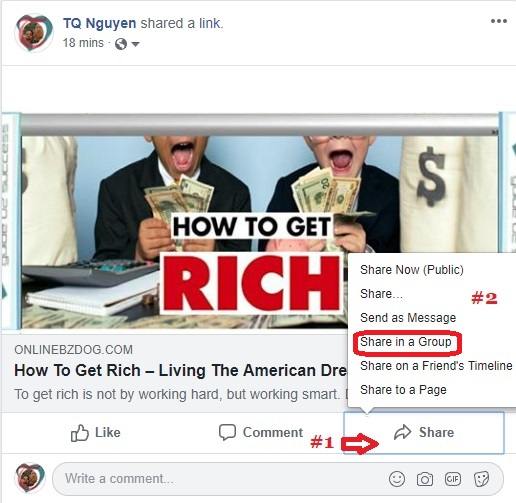 How to share a post on Facebook group?