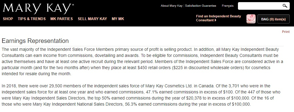Mary Kay consultant review - earnings statement